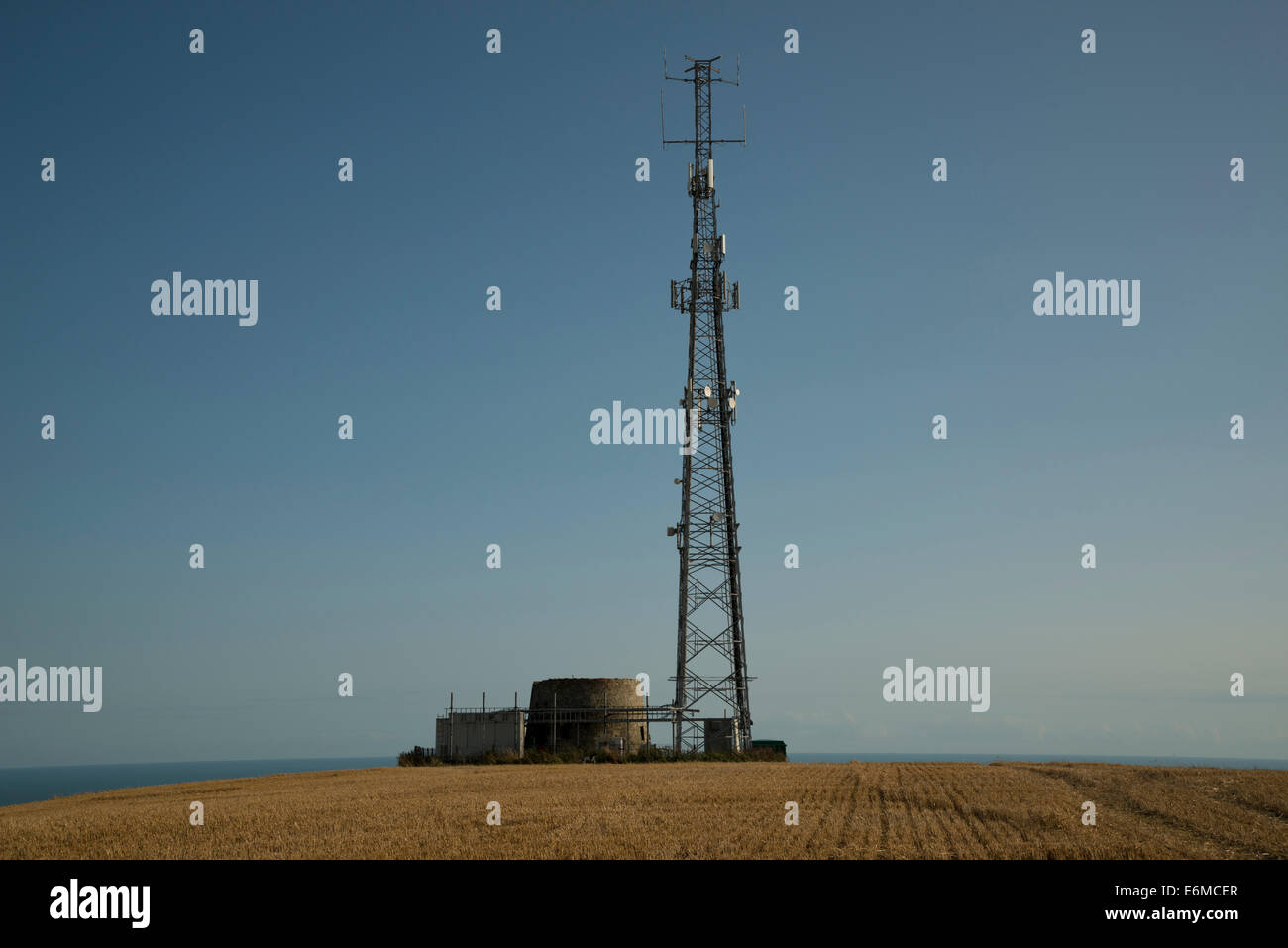 Salt pot lighthouse and telecommunication aerials near St Catherine's Oratory, Isle of Wight, England - Stock Image