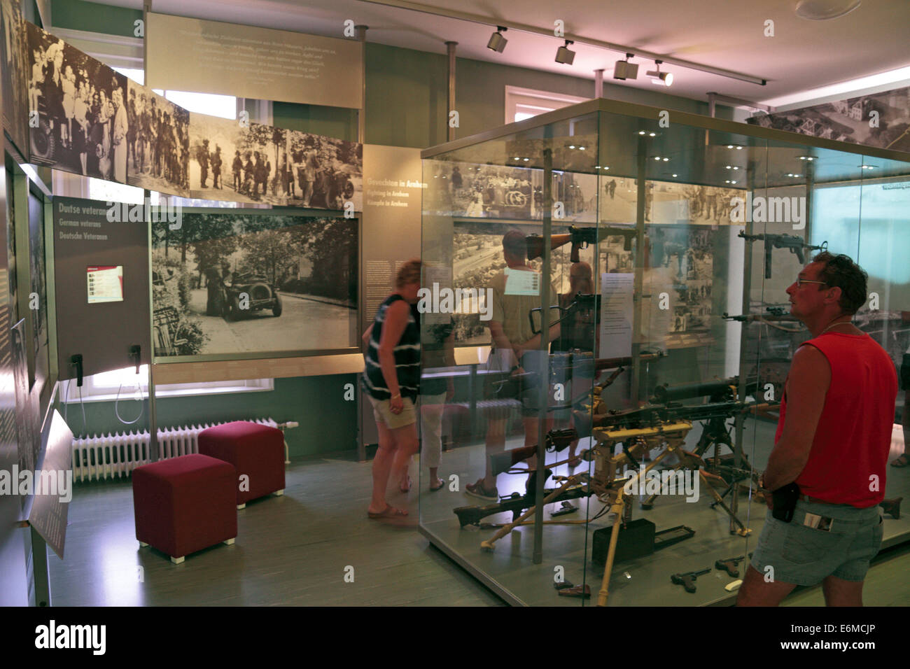 general view of displays in the Airborne Museum, Hartenstein hotel, Oosterbeek, Netherlands. - Stock Image