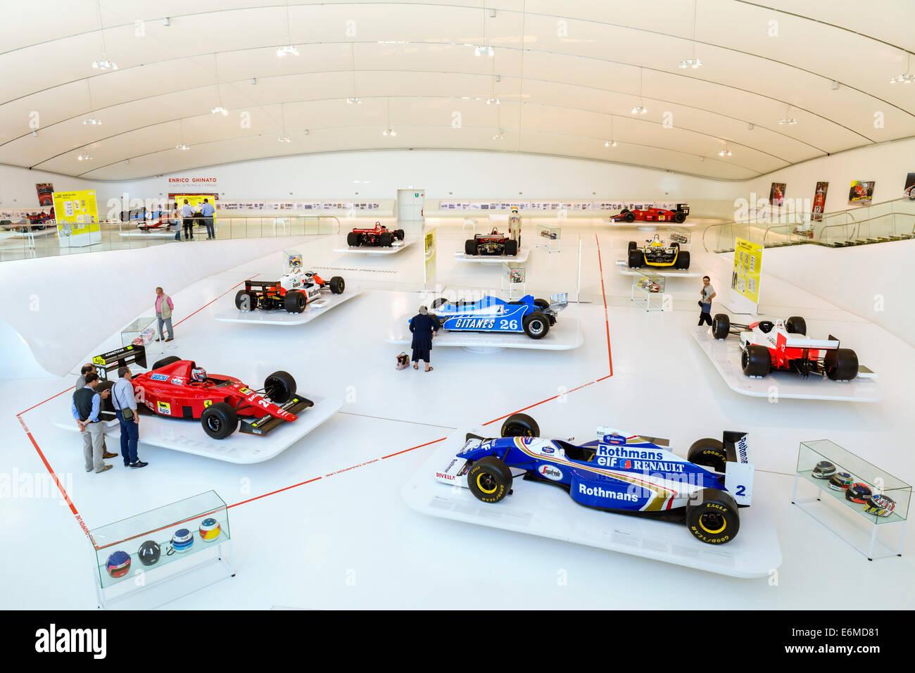 Formula 1 racing cars in the Museo Casa Enzo Ferrari, Modena, Emilia Romagna, Italy - Stock Image