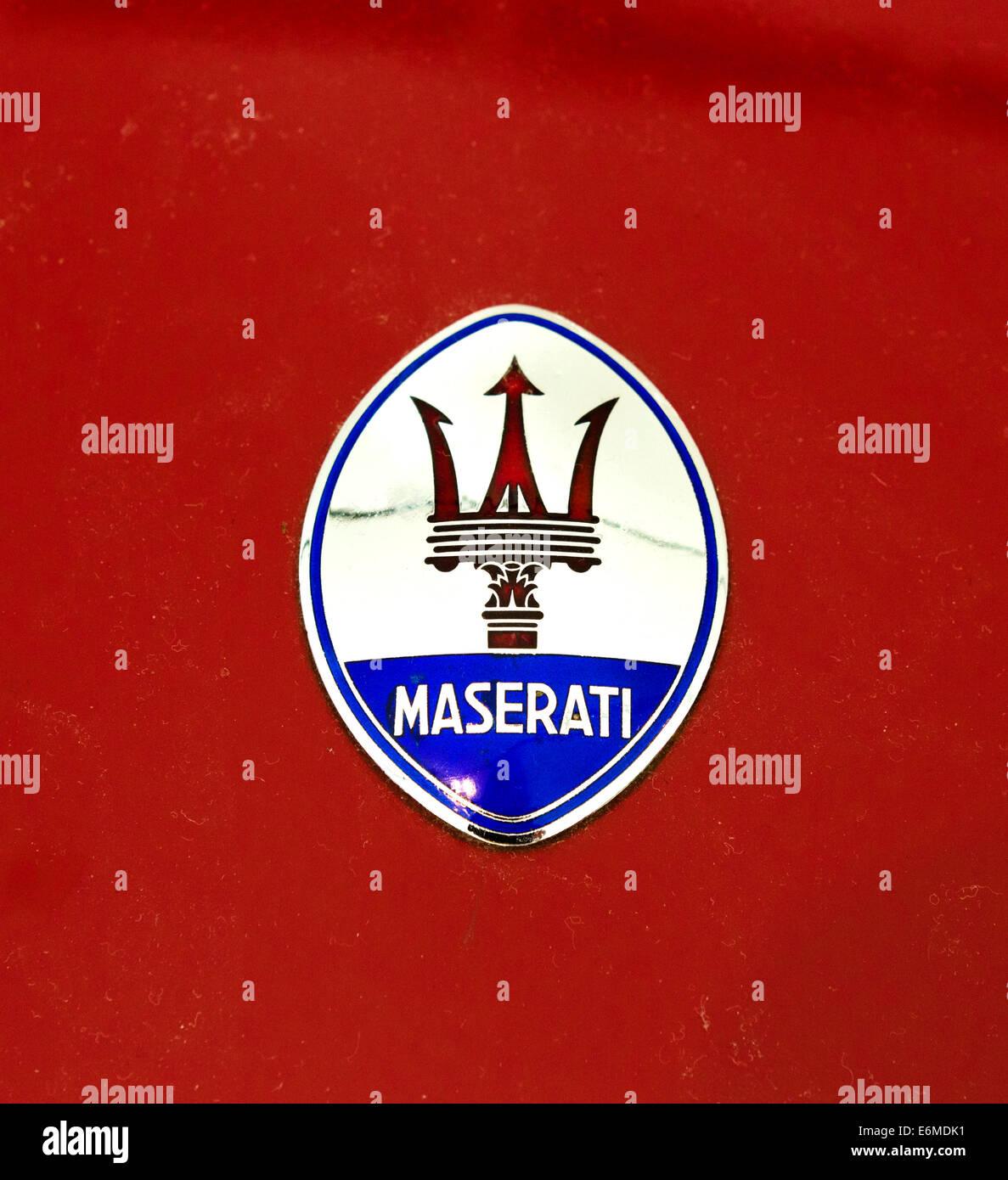 Maserati badge on a racing car in the Museo Enzo Ferrari, Modena, Italy - Stock Image