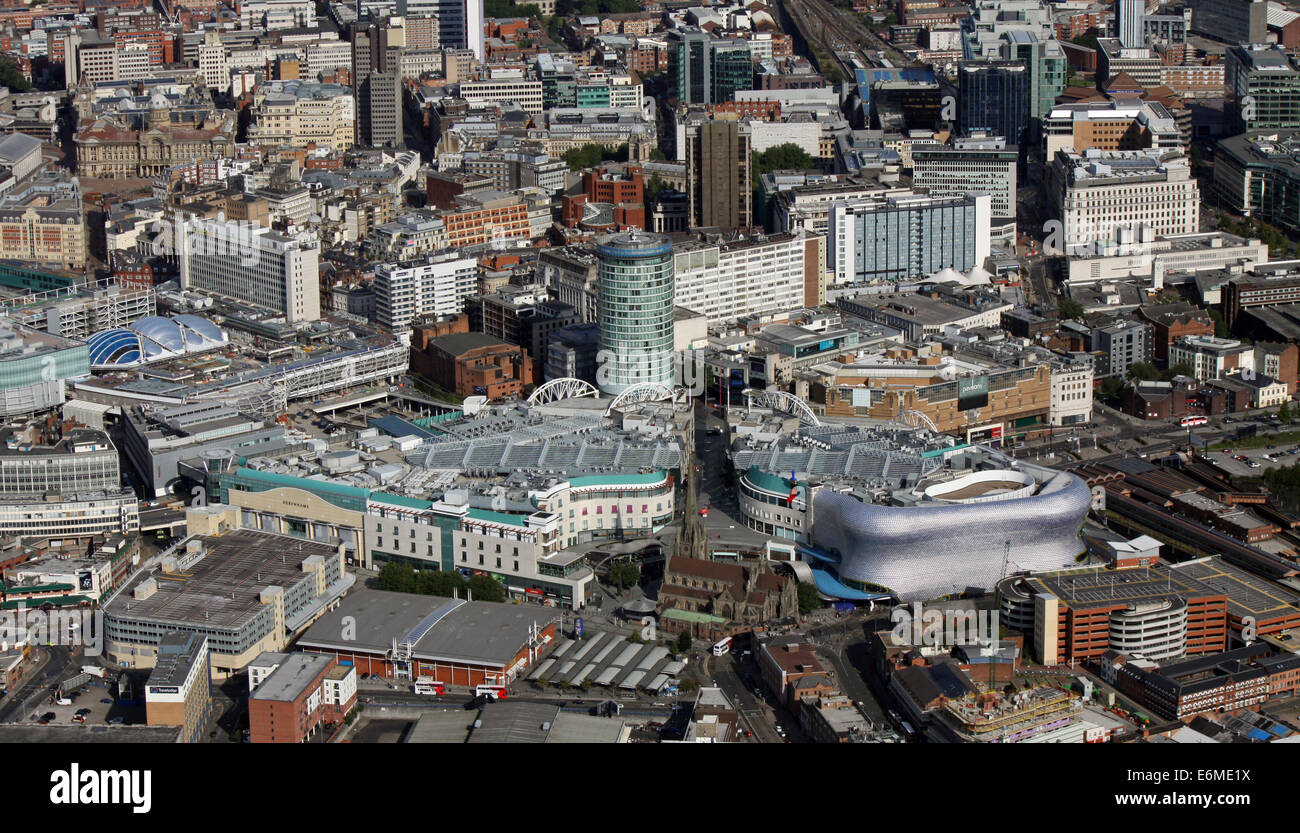 aerial view of Birmingham city centre with The Bull Ring & Selfridges Store prominent - Stock Image
