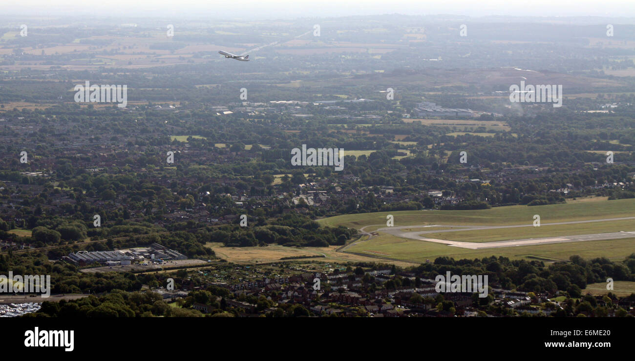 aerial view of an Air France passenger jet taking off from Birmingham International Airport, UK - Stock Image