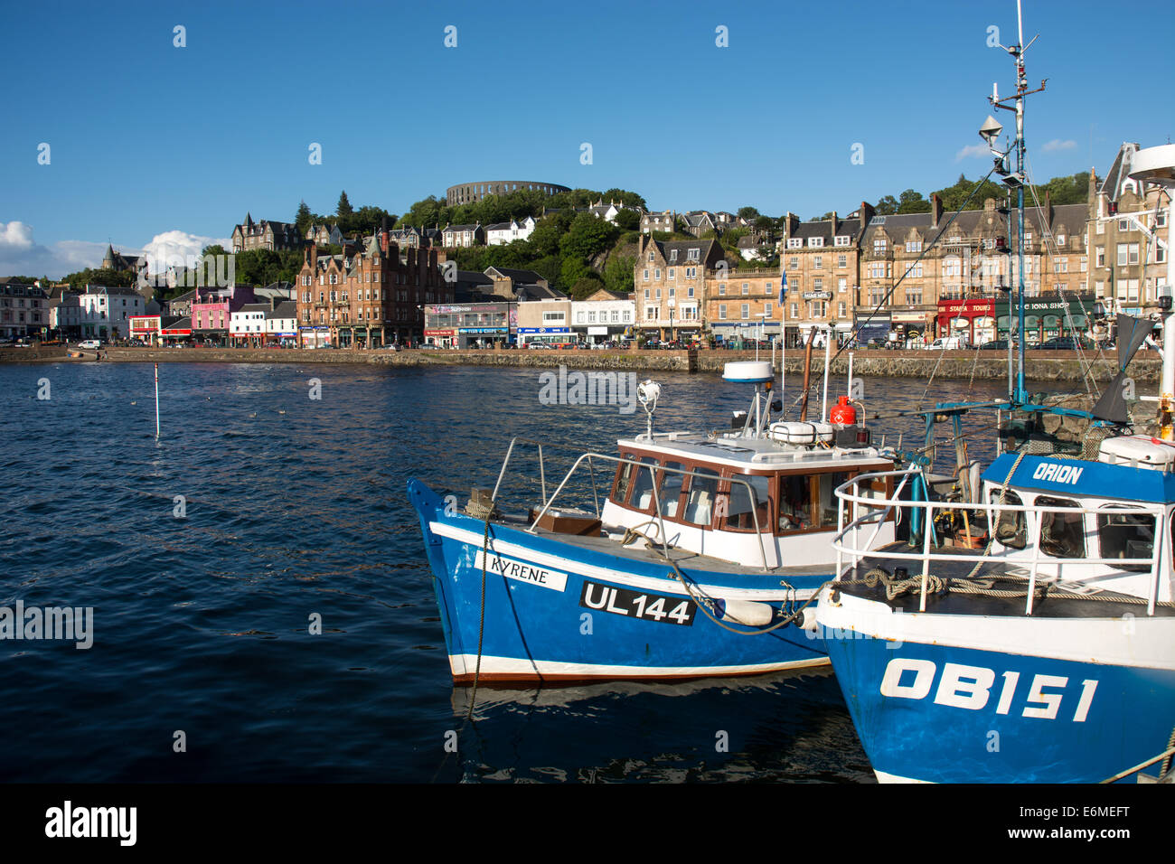 Oban harbour, Scotland, on a summer evening. - Stock Image