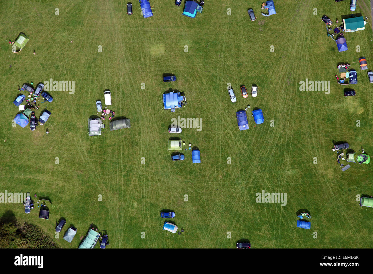 aerial view of a campsite in England, looking vertically straight down - Stock Image