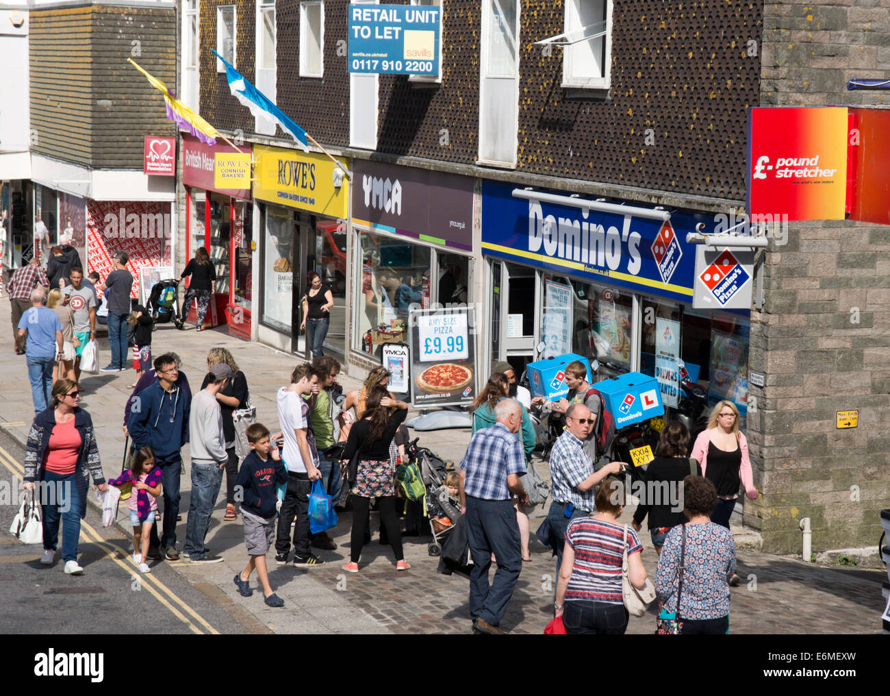 Market Jew Street Penzance Cornwall England UK   Holiday makers shopping - Stock Image