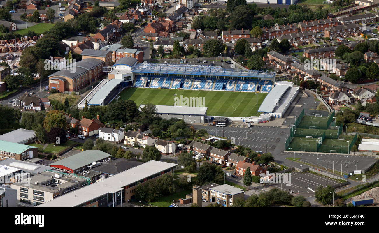 aerial view of AFC Telford United - their New Bucks Head Stadium, Shropshire, UK - Stock Image