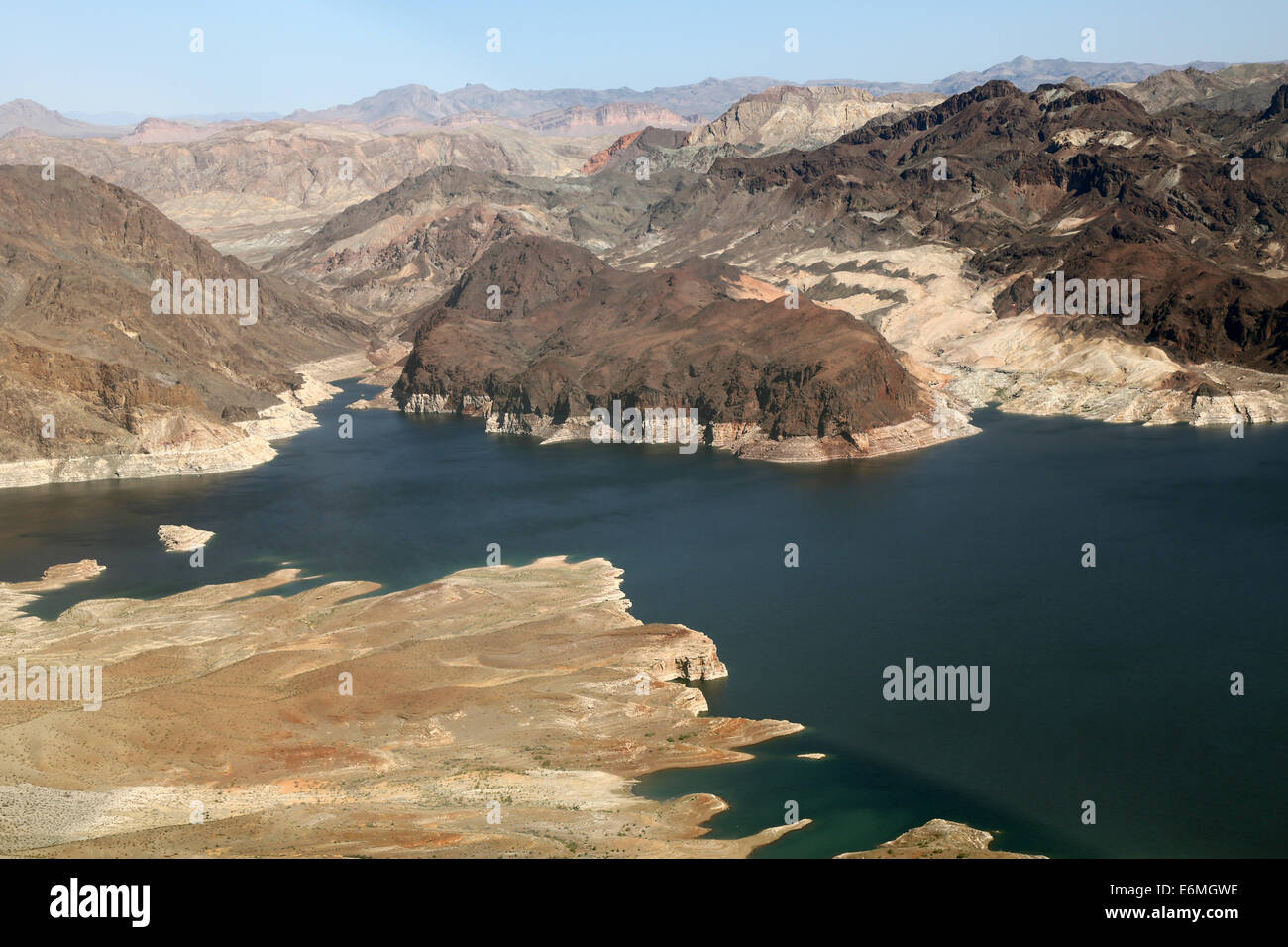 Lake Mead reservoir with drought visible on the Colorado River in Nevada and Arizona in the USA Stock Photo