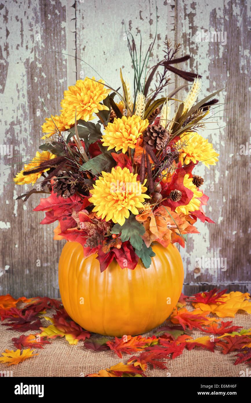 Autumn Pumpkin Flower Arrangement Centerpiece Stock Photo 72981959