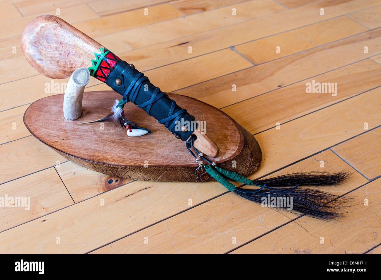 Replica of old Plains Indian war club by CJ Bigknife, Cree, for sale at Tatanka Boutique, Regina, Saskatchewan, - Stock Image