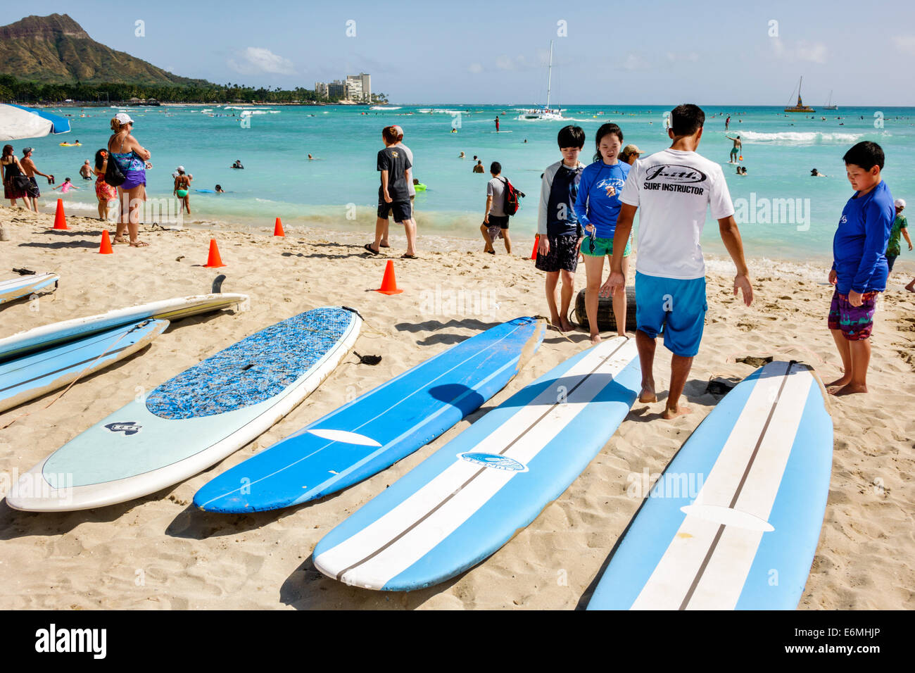 Waikiki Beach Honolulu Hawaii Hawaiian Oahu Pacific Ocean Waterfront Sunbathers Surfboard Surfer Surfing Lesson Asian Boy Girl Teen Diamond