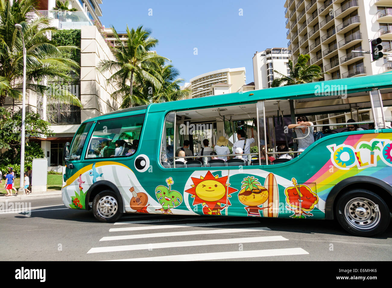 Waikiki Beach Honolulu Hawaii Hawaiian Oahu Kalia Road bus motor coach - Stock Image