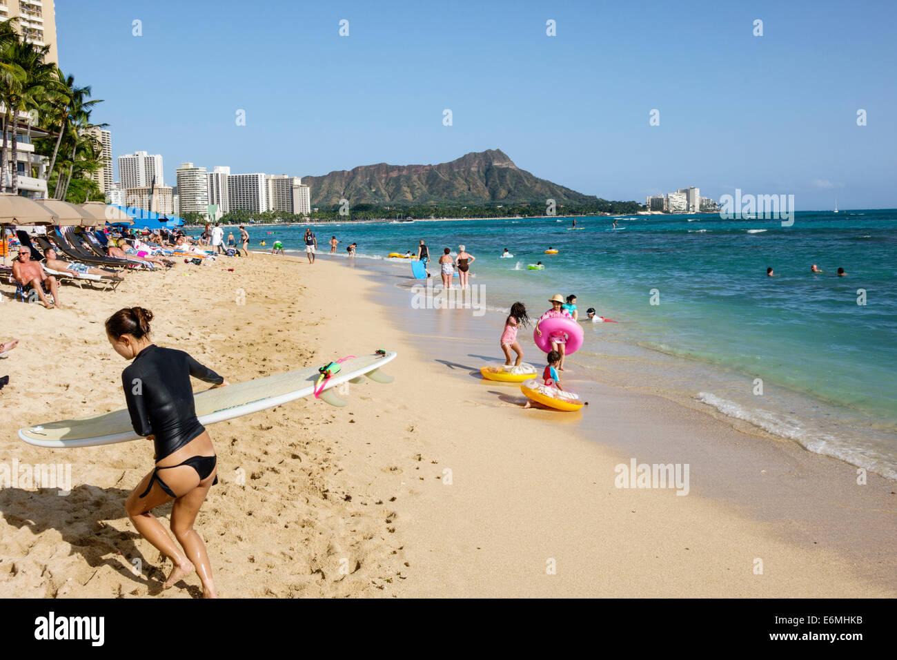 Waikiki Beach Honolulu Hawaii Hawaiian Oahu Pacific Ocean Bay Diamond Head Crater Extinct Volcano Mountain Sunbathers Waterfront Hotel Asian W