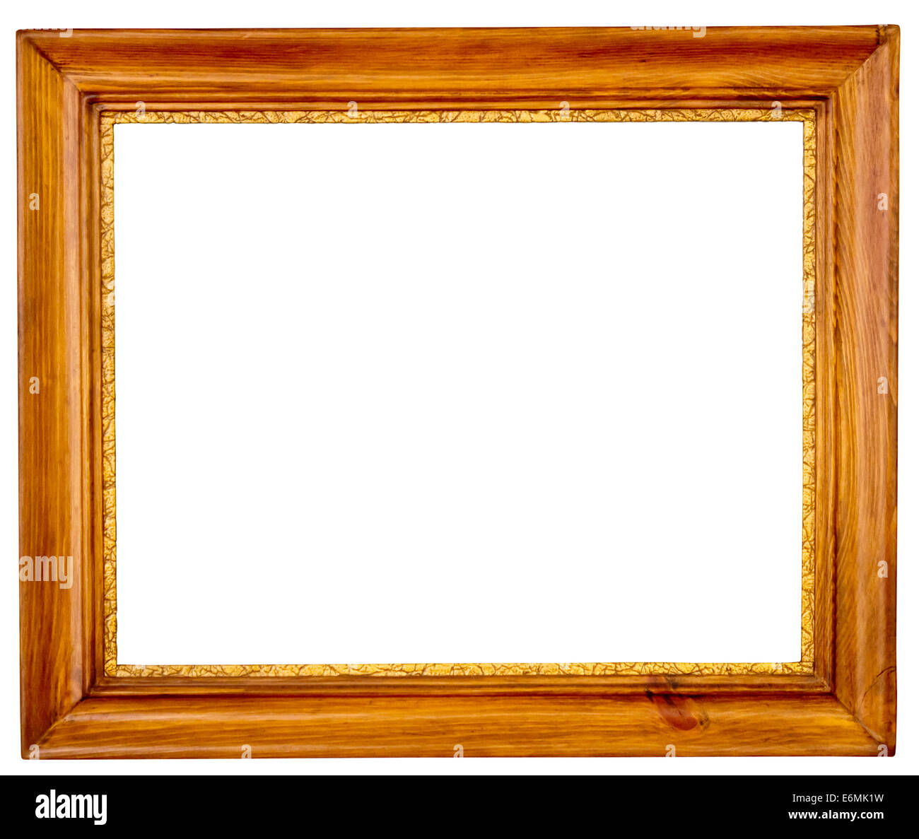 wood frame isolated on a white background - Stock Image