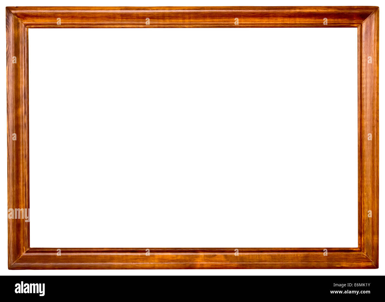 wood frame isolated on white background - Stock Image