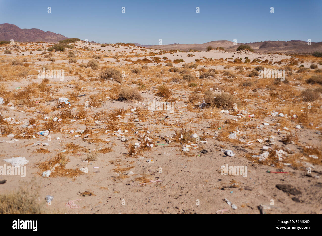 Litter along American Southwest desert  highway - Mojave desert, California USA - Stock Image