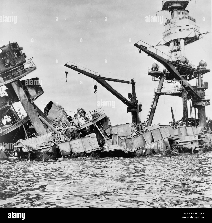 Wreckage of USS Arizona, Pearl Harbor, Hawaii, December 7, 1941 - Stock Image