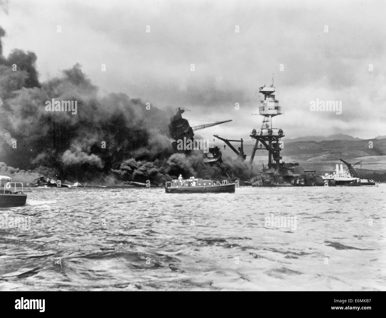 USS Arizona, at height of fire, following Japanese aerial attack on Pearl Harbor, Hawaii, December 7, 1941 Stock Photo