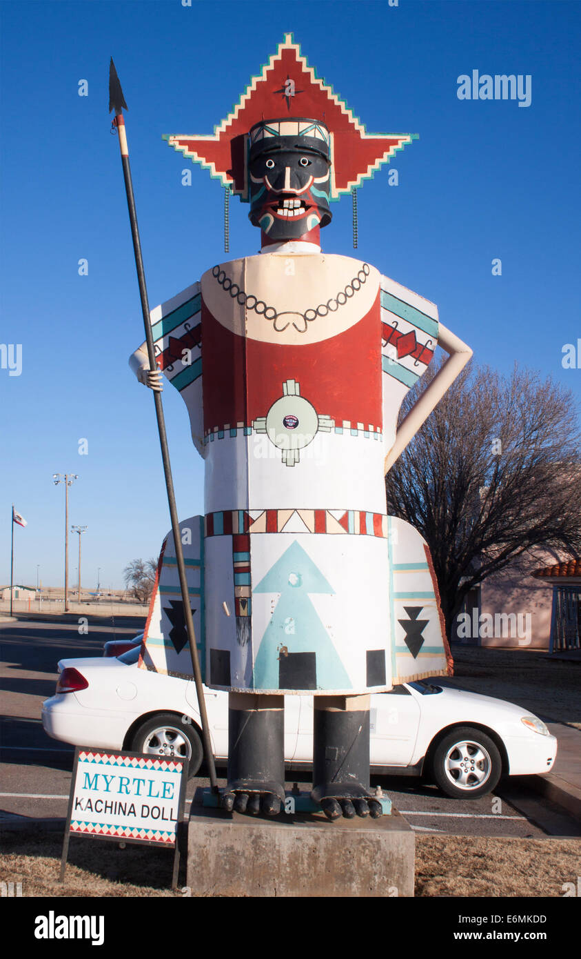Mrytle the Kachina Doll in Elk City Oklahoma Stock Photo