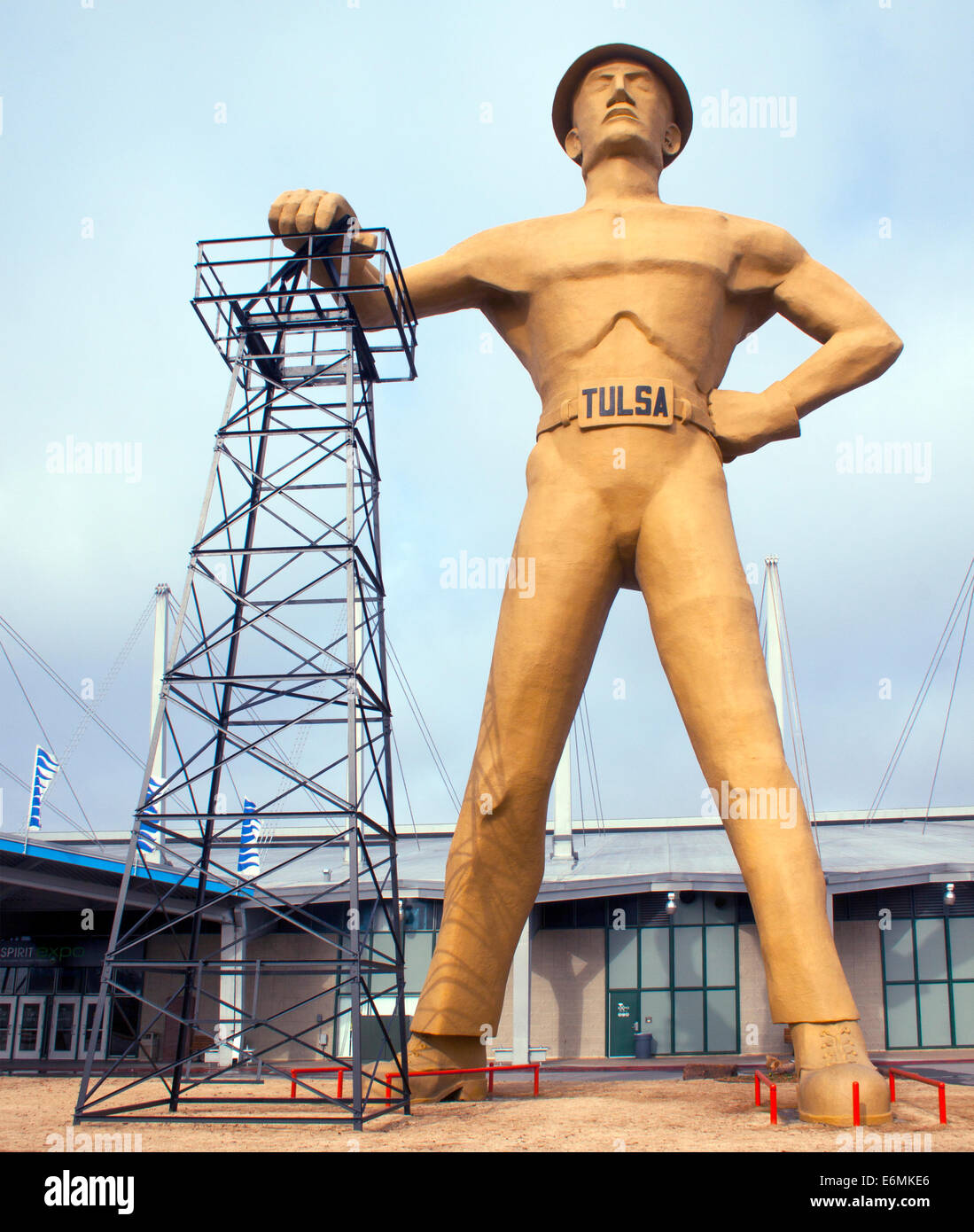 Giant Oil Driller Man Sculpture at the old Worlds Fairground in Tulsa Oklahoma - Stock Image
