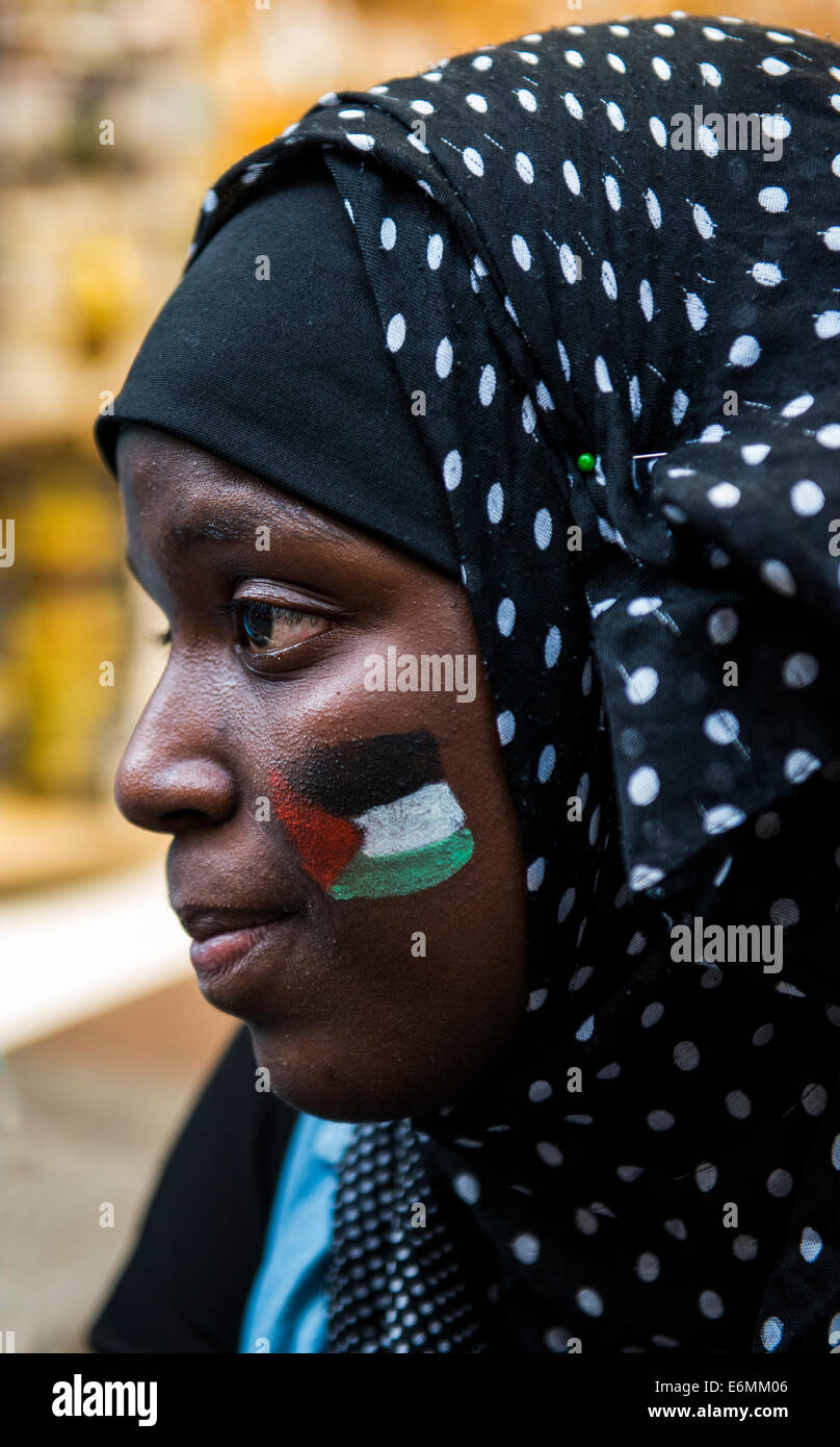 A pro Palestinian supporter in a protest in downtown Brussels. - Stock Image