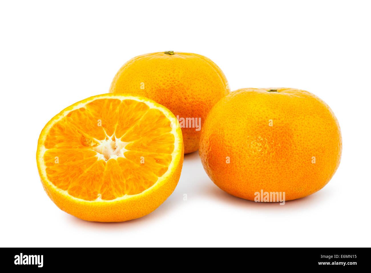 Closeup of oranges isolated on white background - Stock Image