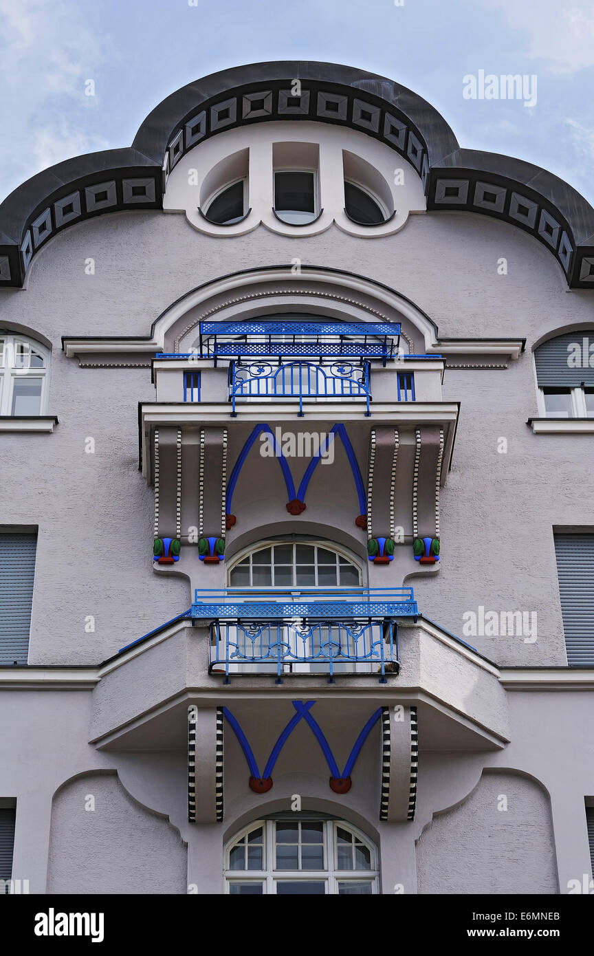 Balconies of an Art Nouveau building, Schwabing, Munich, Upper Bavaria, Bavaria, Germany - Stock Image