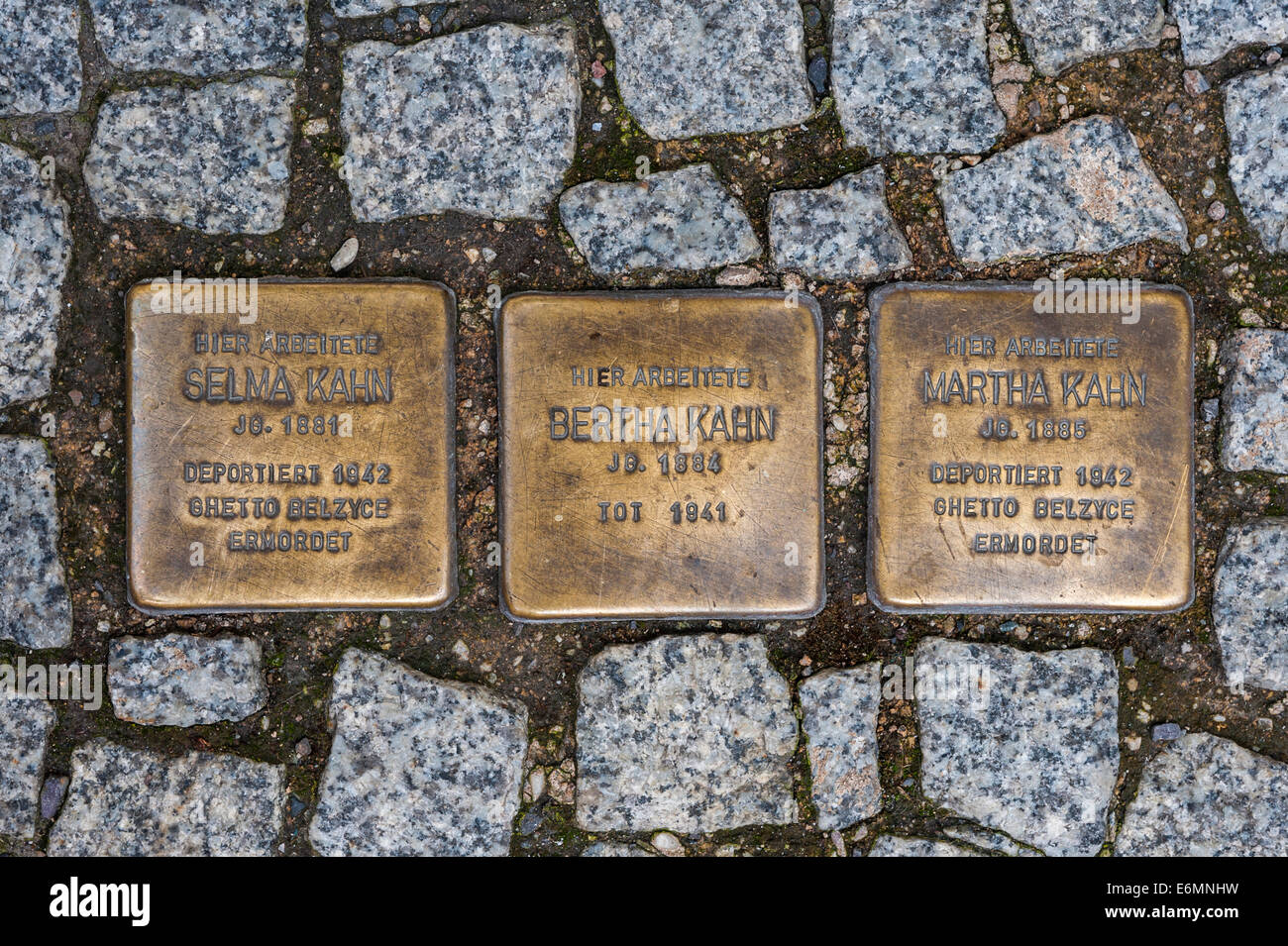 Stolperstein, stumbling blocks, in memory of the victims of the dictatorship in Nazi Germany, by artist Gunter Demnig - Stock Image