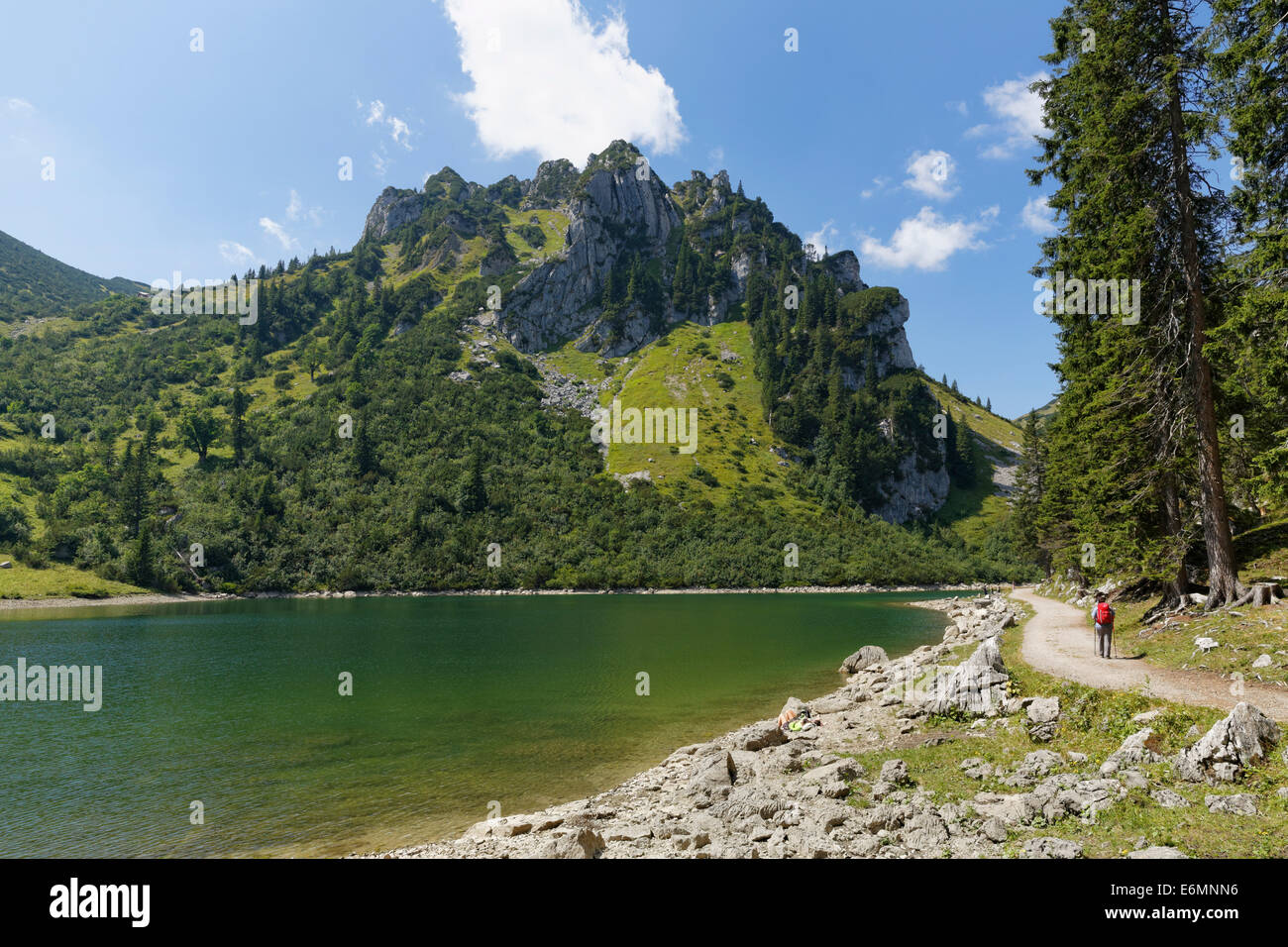 Soinsee Lake and Mt Ruchenköpfe, Bayrischzell, Mangfall mountains, Upper Bavaria, Bavaria, Germany - Stock Image