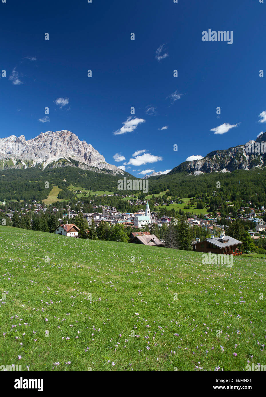 View of the town of Cortina d'Ampezzo, Province of Belluno, Veneto, Italy - Stock Image