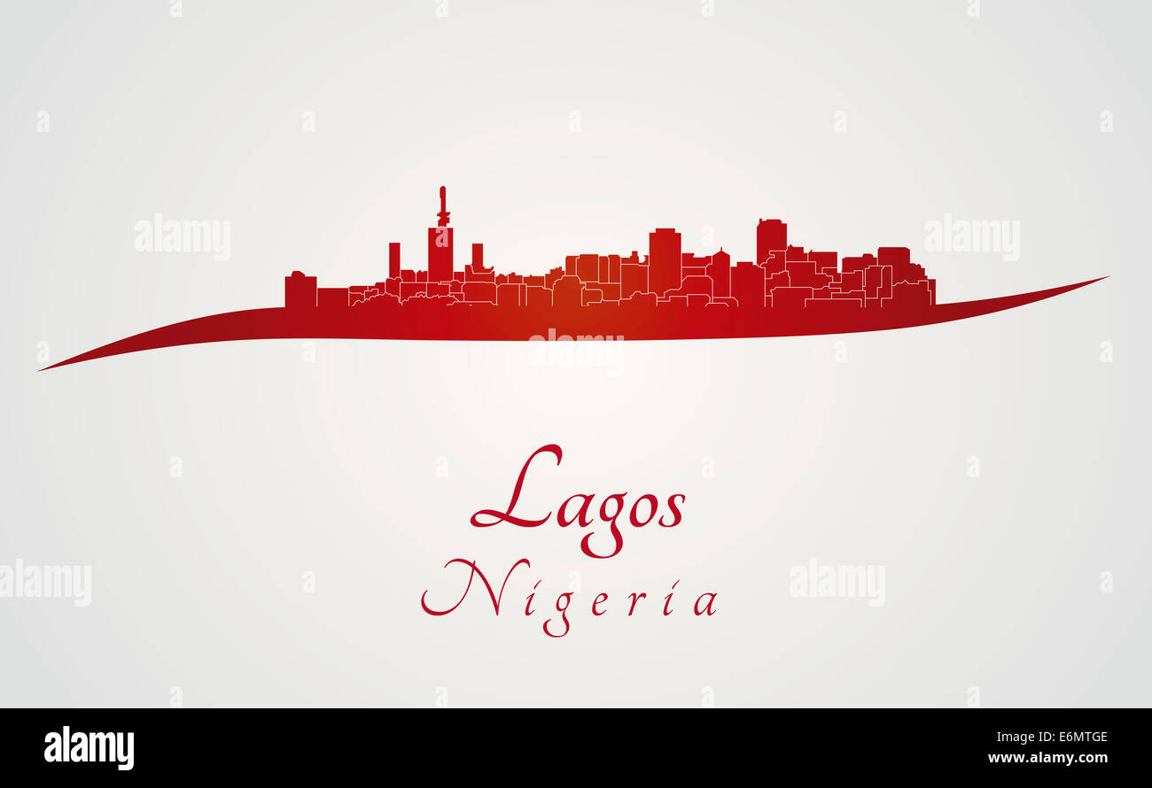 Lagos skyline in red - Stock Image