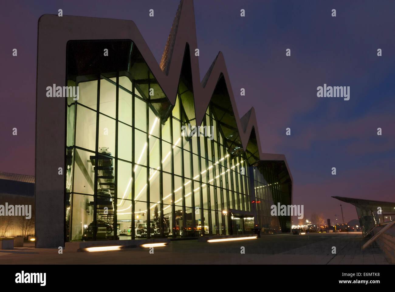 Night photograph of the Riverside Museum of Transport in Glasgow Scotland UK Architect Zaha Hadid. - Stock Image