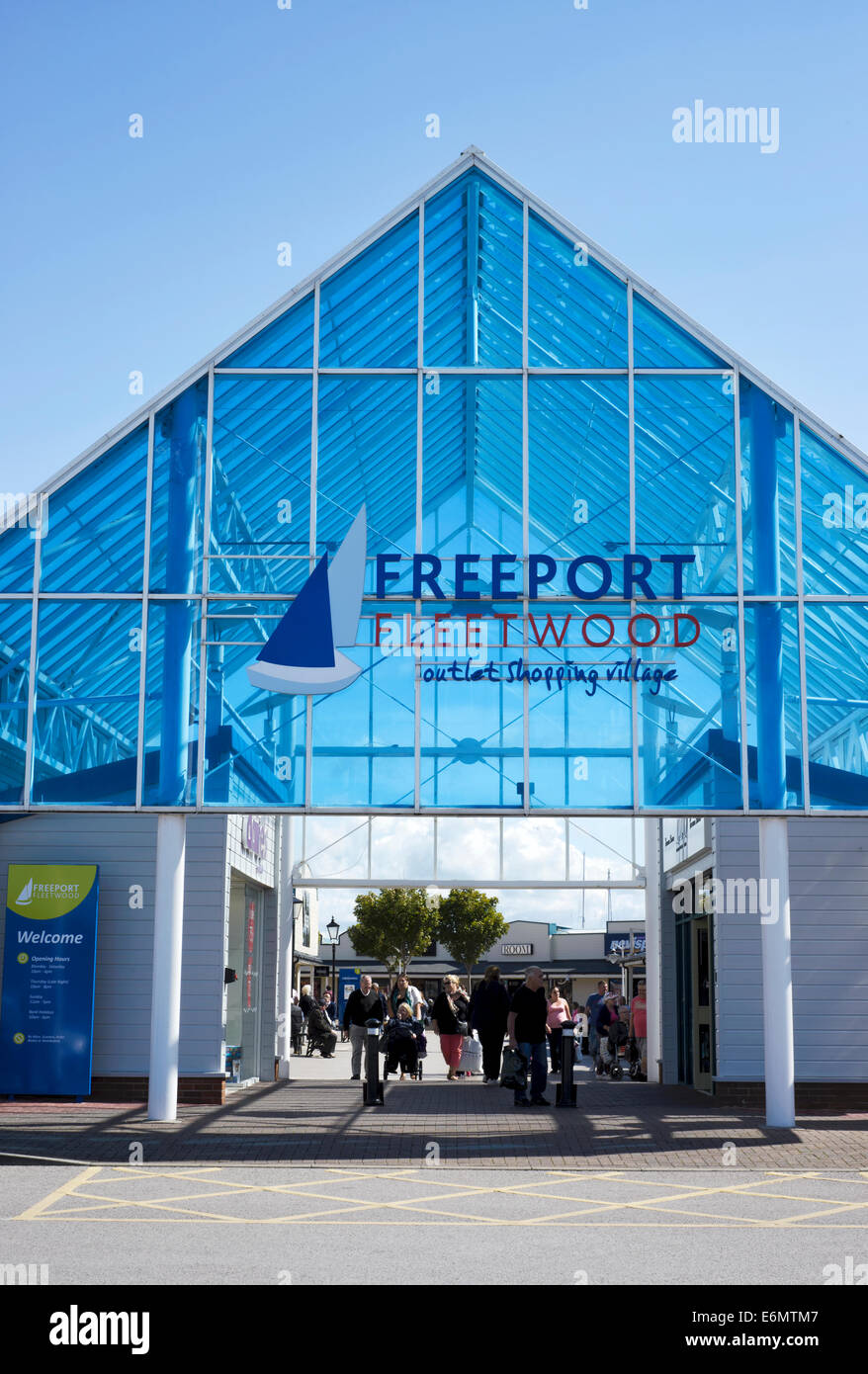 The entrance to the Fleetwood Freeport outlet shopping centre in Fleetwood, Lancashire, England - Stock Image