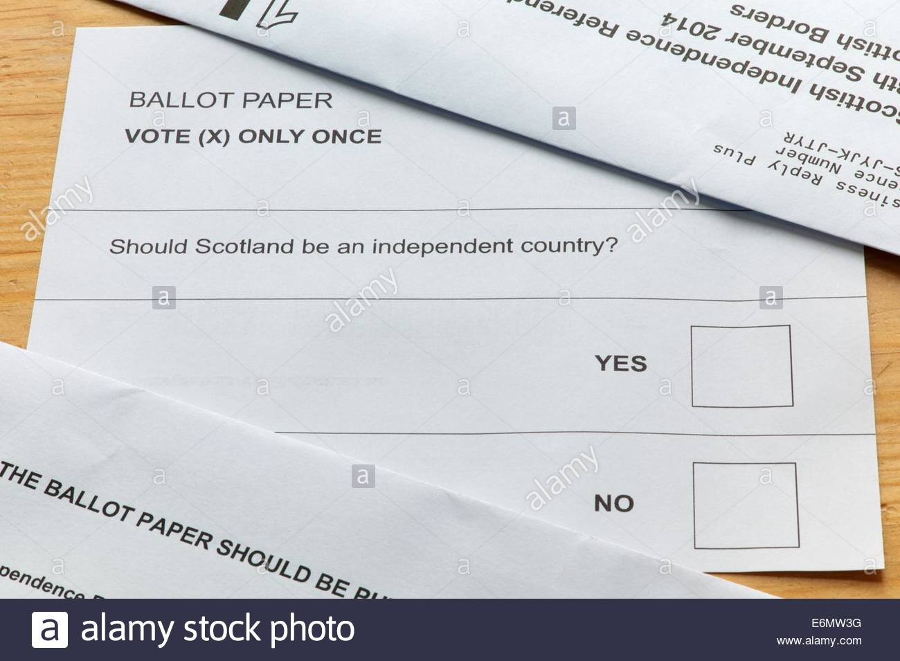 Jedburgh, Scotland, 27th August 2014 - Those deciding by post have been issued their vote in the Scottish Independence Stock Photo