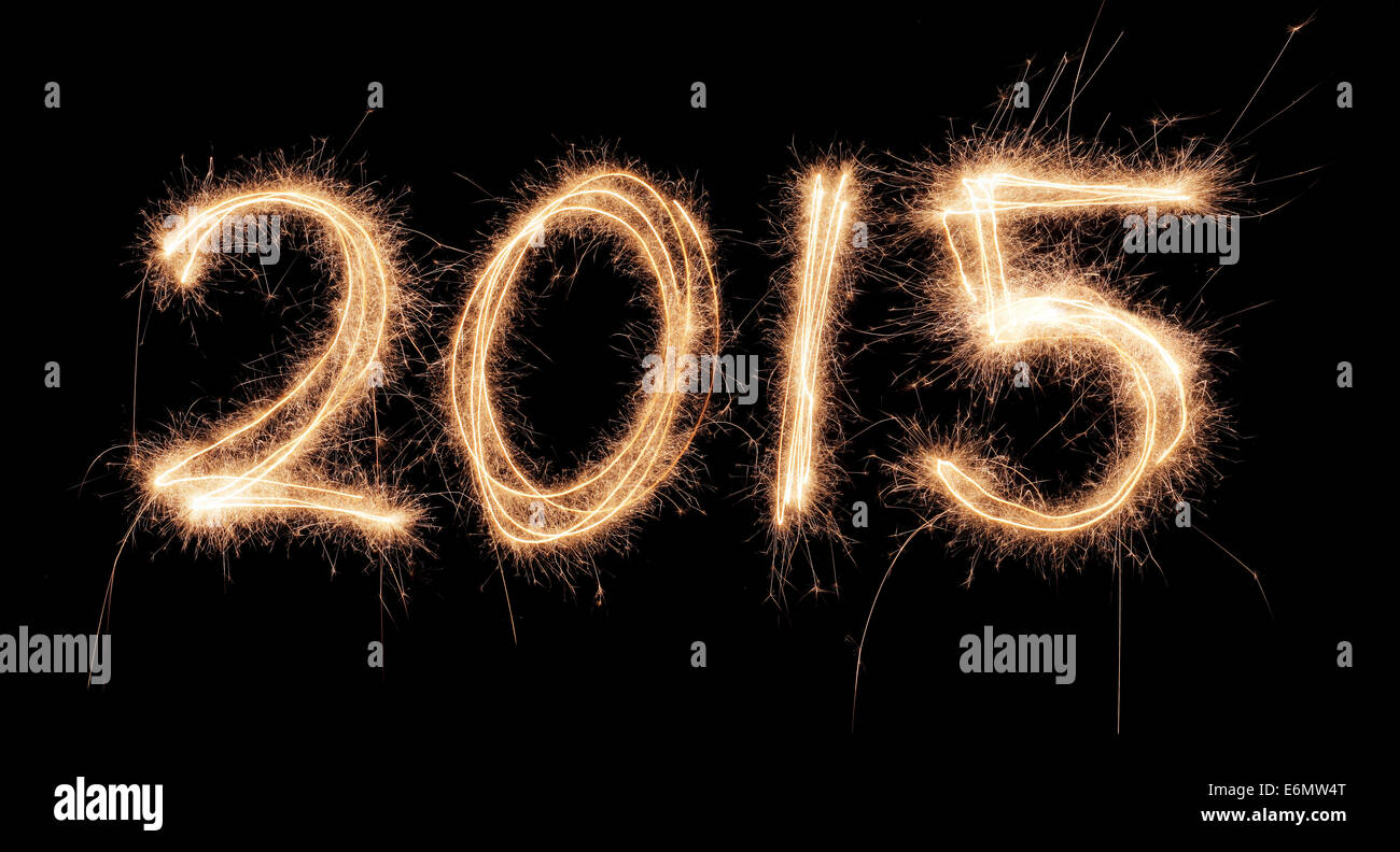 Number 2015 written with a sparkler. - Stock Image