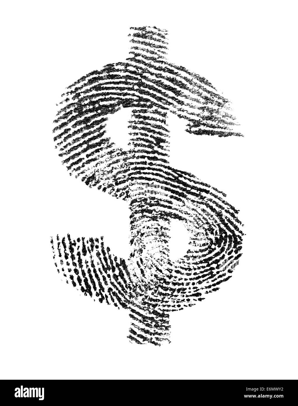 Dollar sign made of a real fingerprint. - Stock Image