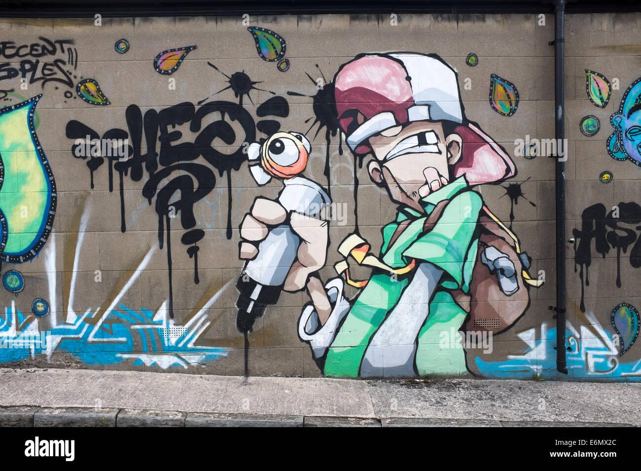 Street Art or Urban Graffitti in Stokes Croft Bristol - Stock Image