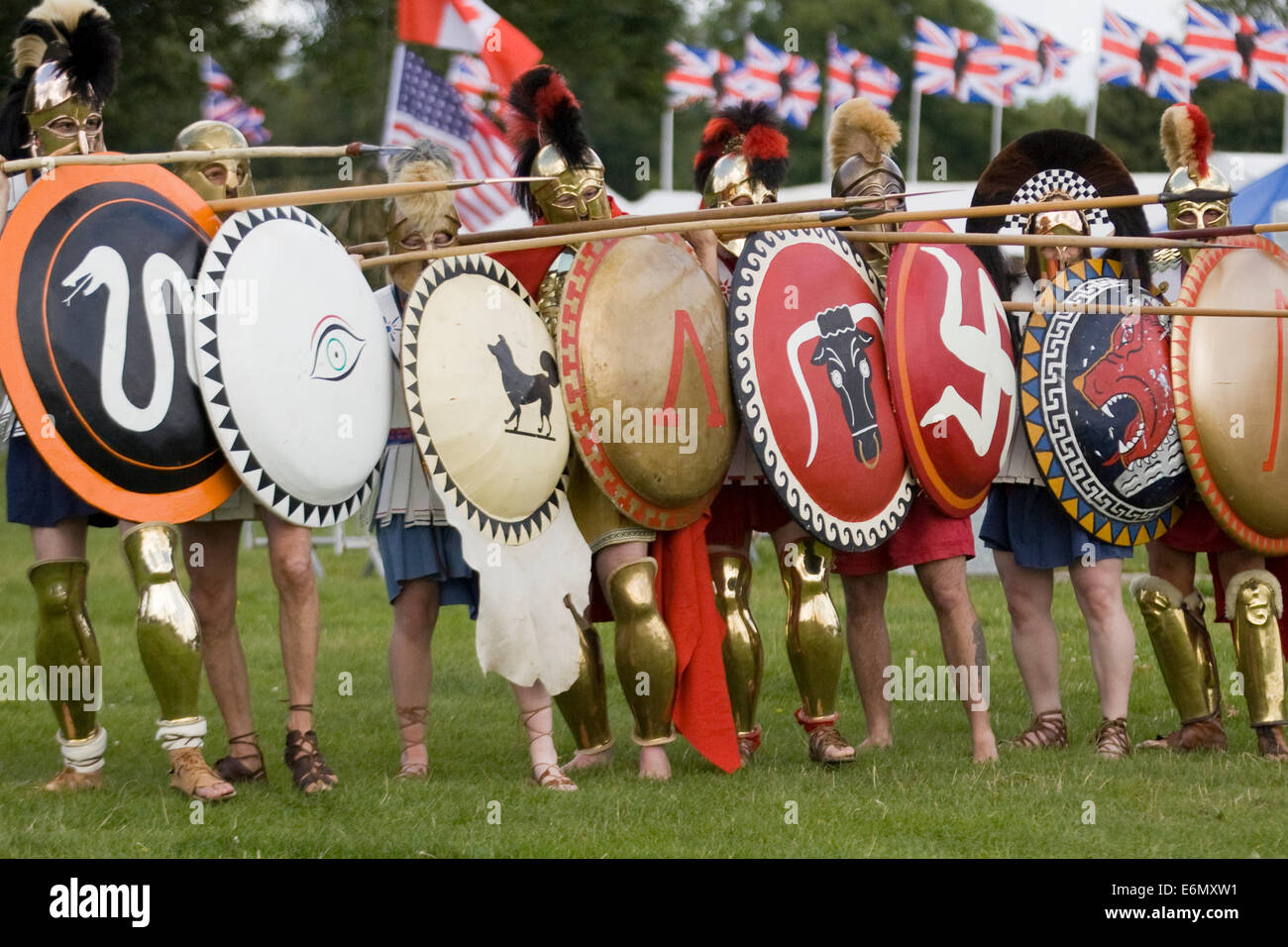 ancient greek soldiers preparing for battle stock photo