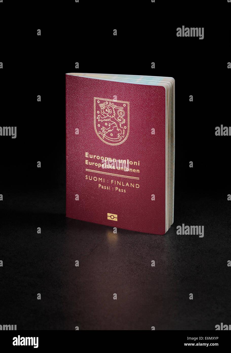 Finnish (Finland) passport. This is the new (2013) of the passport. - Stock Image