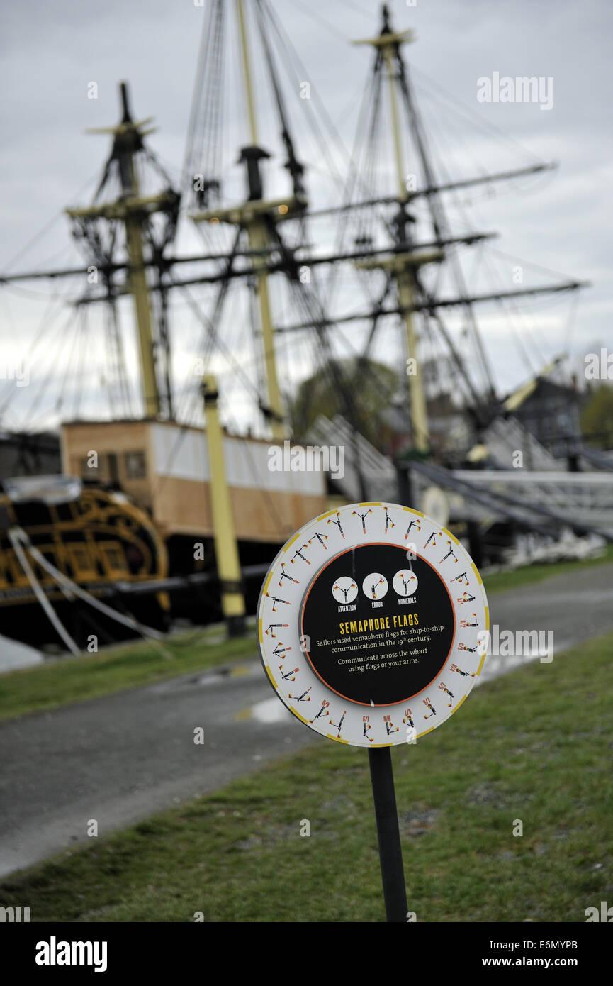 Educational installation explaining semaphore flags. Salem Maritime National Historic Site, Salem, Massachusetts Stock Photo