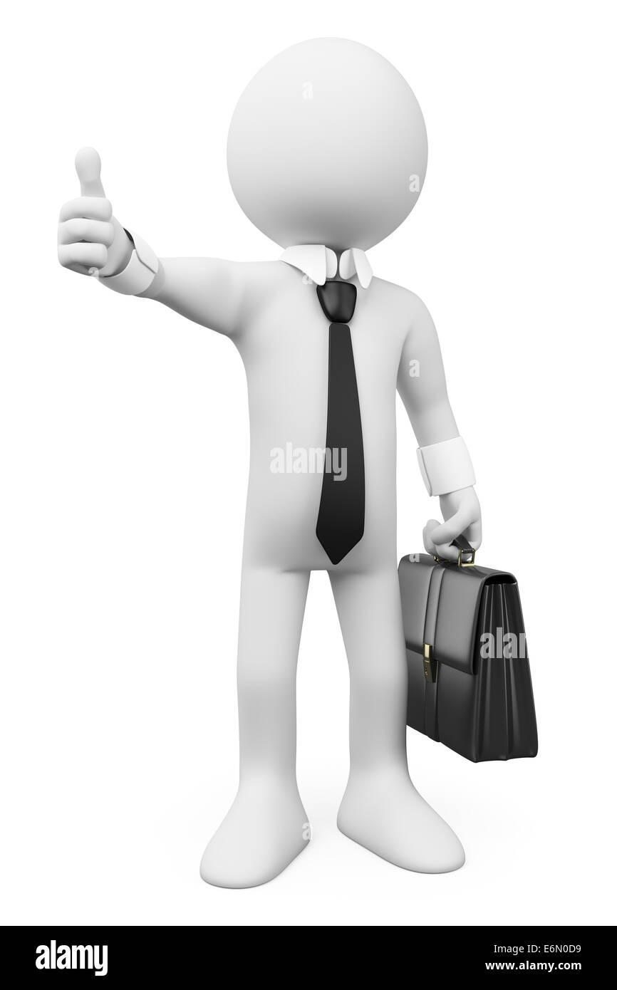 3d white business person with thumb up. Ok. Isolated white background. - Stock Image