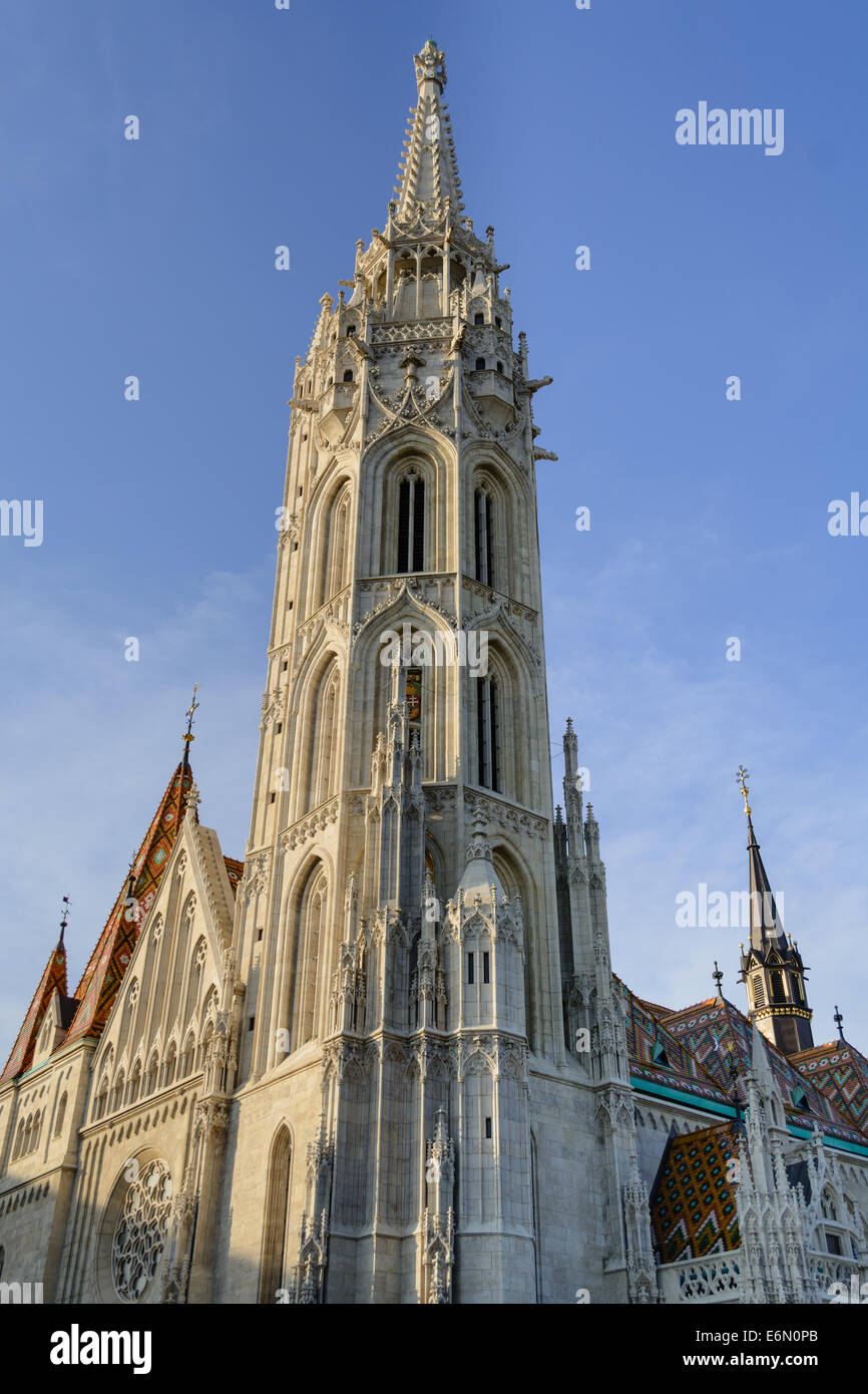 Mathias church tower in Budapest - Stock Image