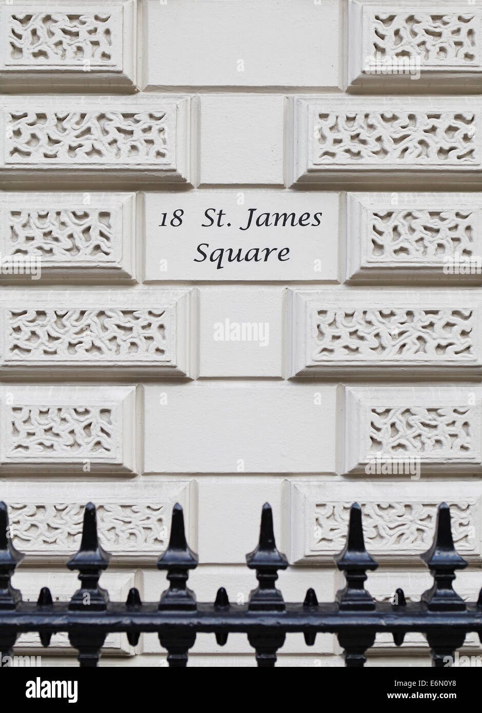 London textures, typical grey stone: St James Square. - Stock Image