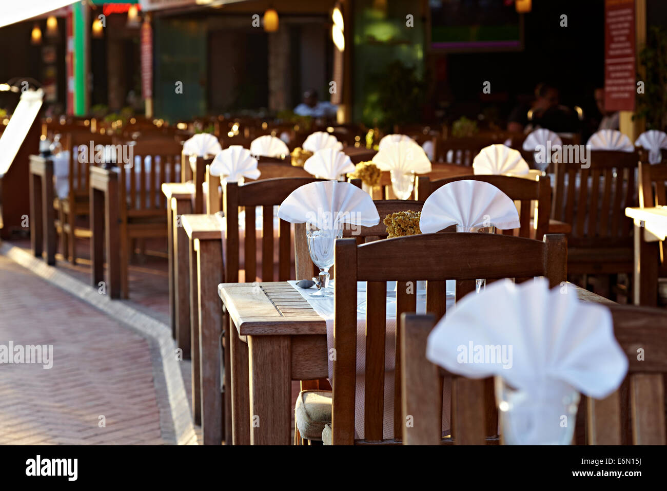 Street side dining, great hospitality, modern cuisine and restaurants await travellers visiting Bitez, Turkey - Stock Image