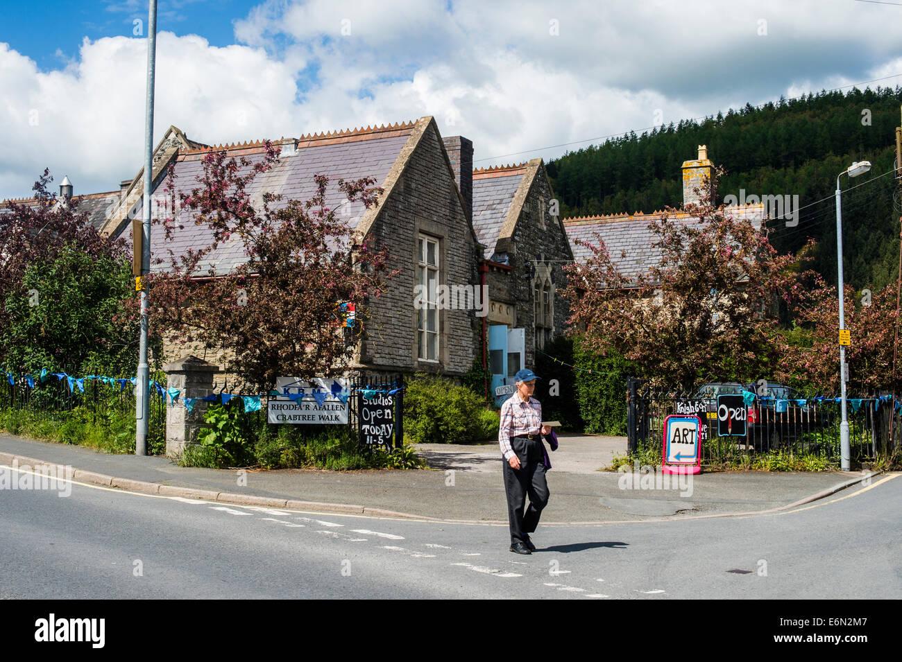 Exterior, The Old School Arts artists' studios, Knighton, Powys, Wales UK - Stock Image