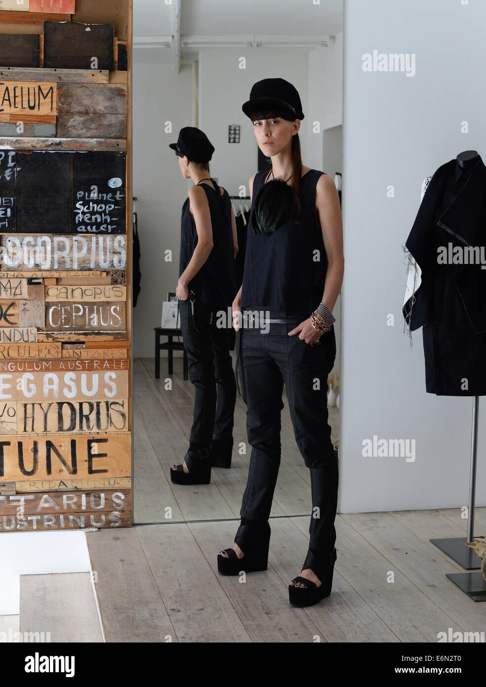 EXCLUSIVE - Berlin fashion designer Esther Perbandt is pictured in her studio on Almstadtstrasse in Berlin, Germany, - Stock Image
