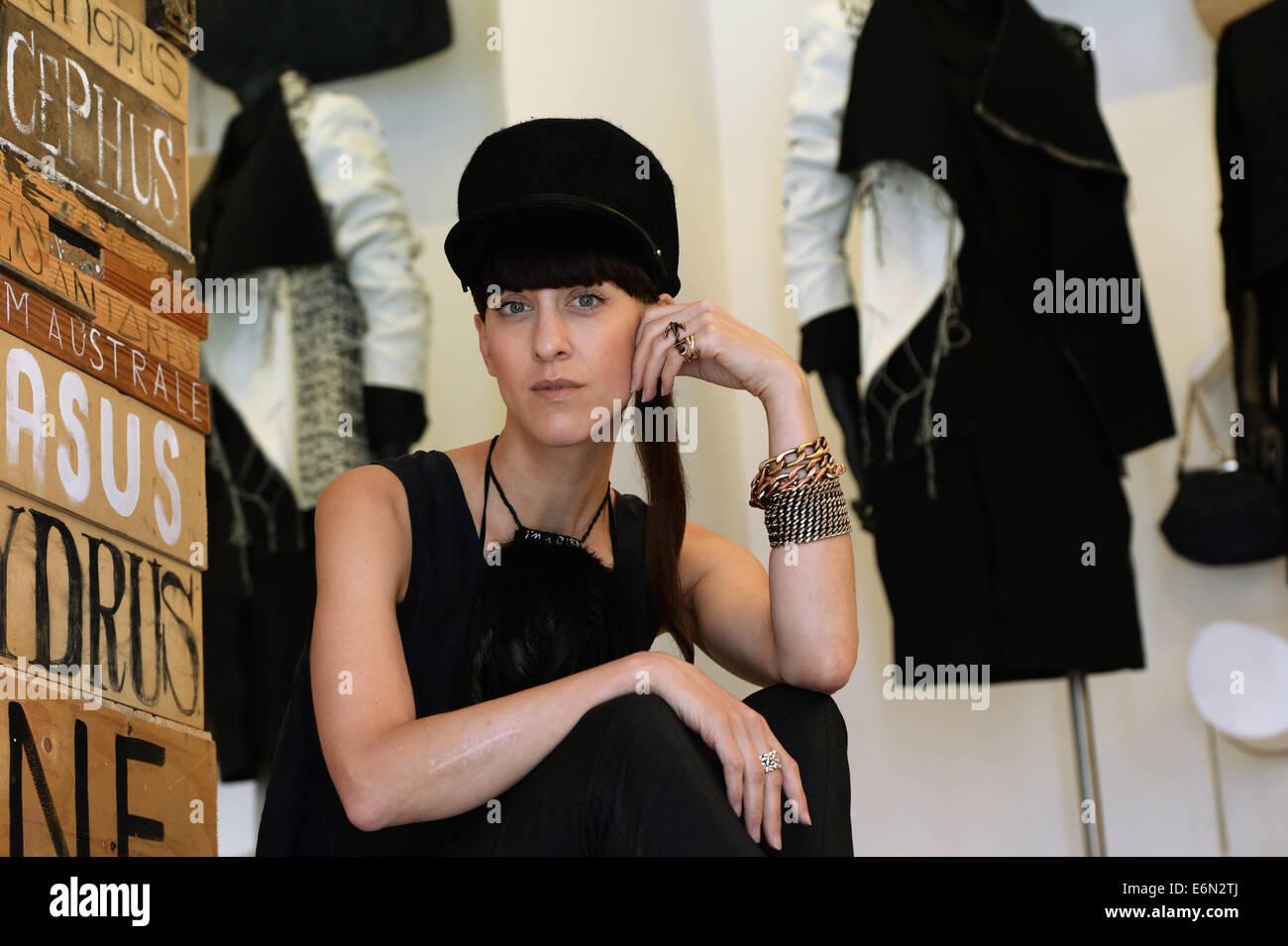 EXCLUSIVE - Berlin fashion designer Esther Perbandt is pictured in her studio on Almstadtstrasse in Berlin, Germany, - Stock Image