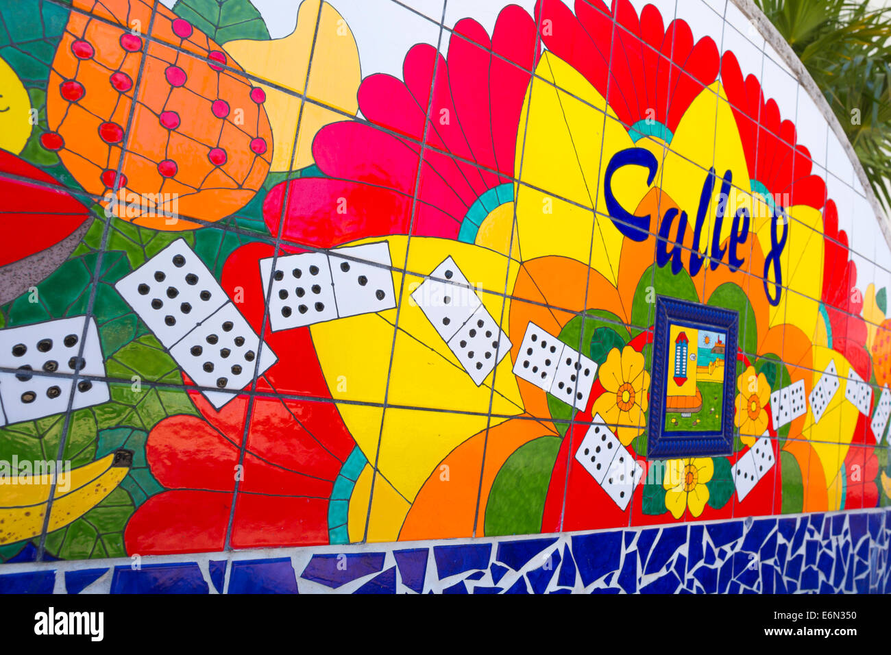 CALLE 8 WAVE WALL MOSAIC DOMINO PARK EIGHT STREET LITTLE HAVANA ...