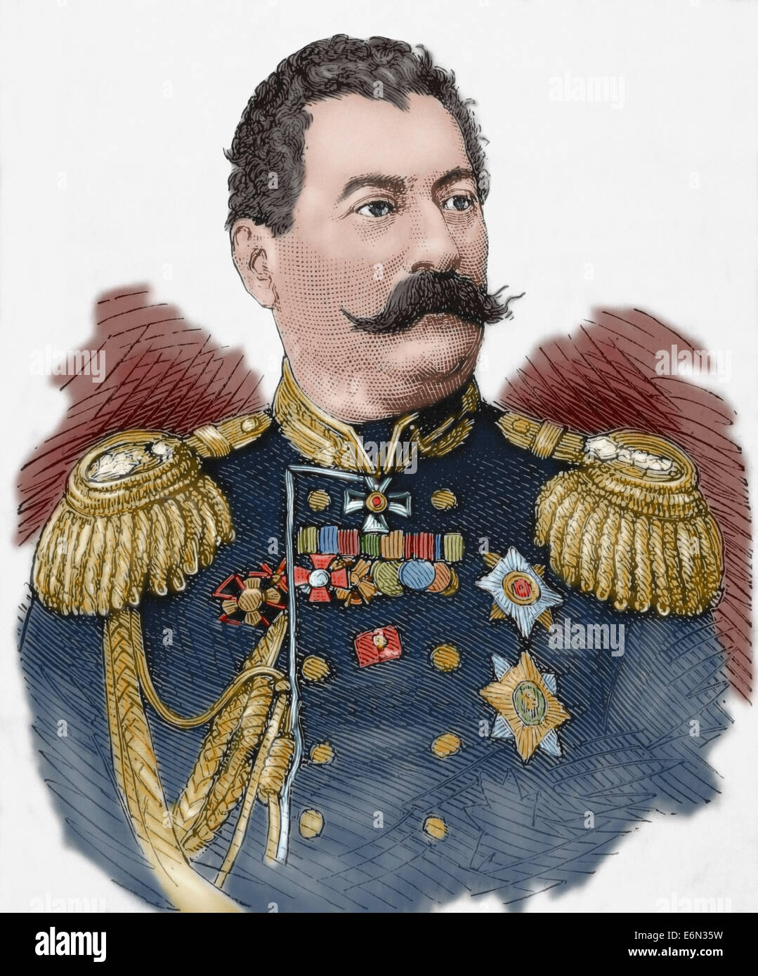 Mikhail Loris-Melikov (1826-1888). Russian-Armenian statesman. Engraving. The Spanish and American Illustration, - Stock Image