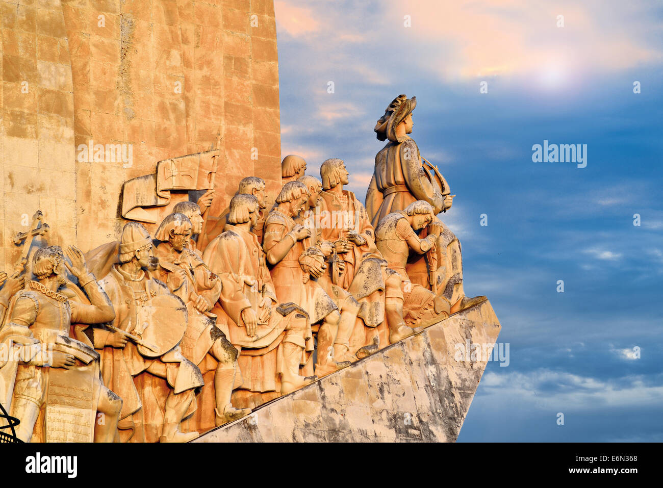 Portugal, Lisbon: Detail of the Discoveries Monument with cloudy sky Stock Photo