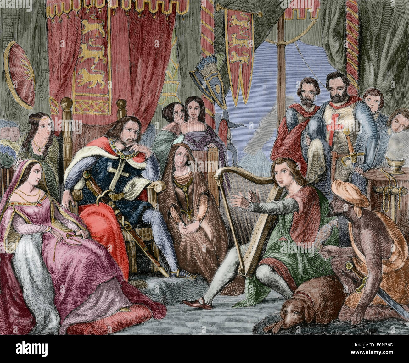 Richard I of England (1157-1199), known as Richard the Lionheart. King of England. Engraving. Colored. Stock Photo